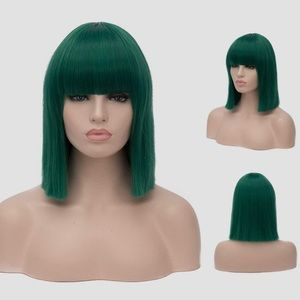 BRAND NEW! Green Straight Bob with Bangs WIG